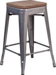 """24"""" backless metal counter stool with wood seat"""