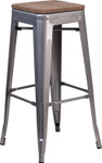 """30"""" backless metal restaurant bar stool with wood seat"""