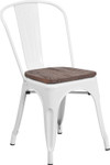 white metal restaurant stack chair with wood seat