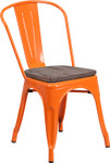 orange metal restaurant stack chair with wood seat
