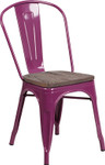 purple metal restaurant stack chair with wood seat