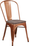 copper metal restaurant stack chair with wood seat
