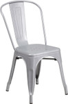 silver metal restaurant stack chair