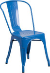 blue metal restaurant stack chair