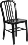black metal slat back stack chair