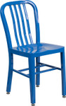 blue metal slat back stack chair