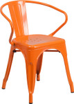 orange metal restaurant stack chair with arms