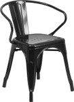 black metal restaurant stack chair with arms