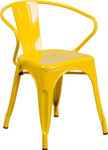 yellow metal restaurant stack chair with arms