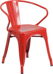 red metal restaurant stack chair with arms
