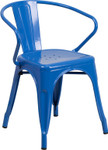 blue metal restaurant stack chair with arms