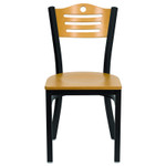 natural wood seat and back restaurant chair with metal frame