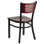 mahogany restaurant chair back view