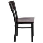 walnut restaurant chair side