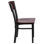mahogany restaurant chair side