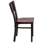 contemporary mahogany restaurant chair side view
