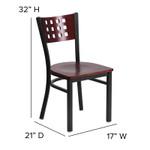 contemporary mahogany restaurant chair dimensions