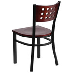 contemporary mahogany restaurant chair back view