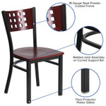 contemporary mahogany restaurant chair features