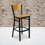 natural wood bar stool with black metal frame