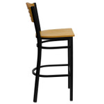 side view of natural wood bar stool with metal frame