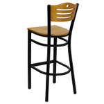 back view of natural wood bar stool with metal frame