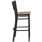 walnut bar stool with black frame side view
