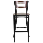 walnut bar stool with black frame front view