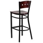 mahogany square back bar stool back view