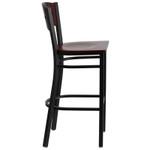 mahogany square back bar stool side view