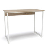 white frame natural top essentials small home office desk
