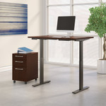 mocha cherry adjustable desk with file