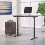 storm gray adjustable desk with file