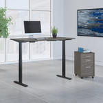 cocoa 60x30 adjustable desk with file cabinet