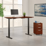 """72"""" x 30"""" move 60 adjustable desk with file in hansen cherry"""