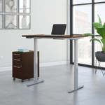 mocha cherry ergonomic desk with file