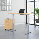 maple ergonomic desk with file