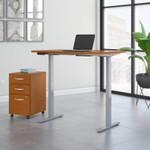 natural cherry ergonomic desk with file