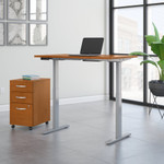 move 60 natural cherry 48 x 30 adjustable desk with file