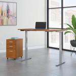 move 60 60x30 natural cherry ergonomic desk with file