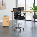 maple ergonomic desk with drafting chair and storage