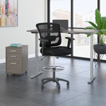 cocoa ergonomic desk with drafting chair and storage