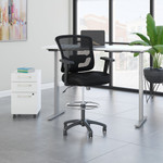 white ergonomic desk with drafting chair and storage