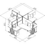 4 person cluster desk dimensions