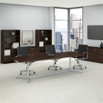mocha cherry boat shaped conference table