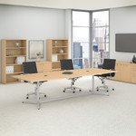 natural maple boat shaped conference table