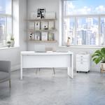 echo bow front desk in pure white