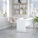 ech025 pure white bow front l desk