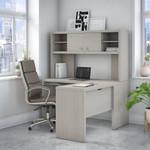 gray sand l desk with hutch
