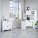 pure white echo l desk with hutch and lateral file cabinet